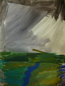 """Storm over the Skagit"" untitled student work oil pastel over watercolor"