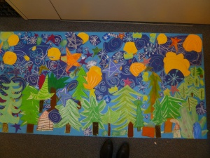 Winter pastel and collage mural by fourth graders at Madison Elementary 2012
