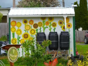 Garden shed at Lincoln Elementary painted by sixth graders 2011